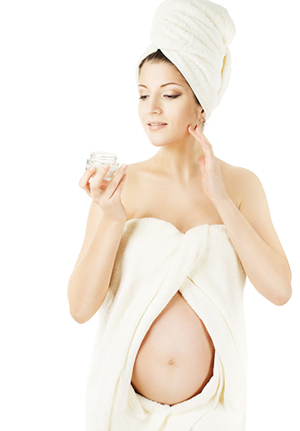 Pregnant woman spa, health skin care and beauty of pregnancy.