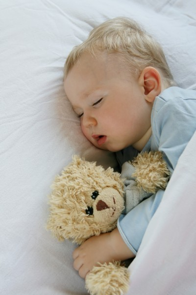 18 months old baby boy slepping in bed with sweet teddy bear. Li